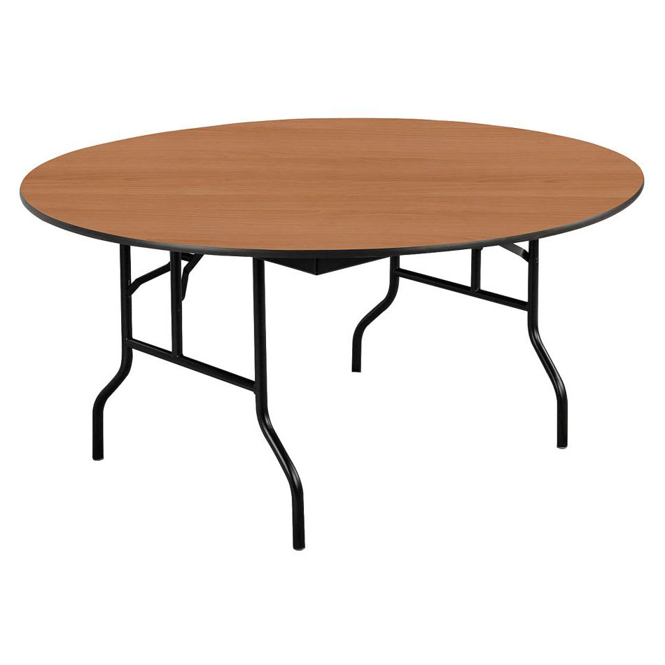 "Midwest Folding Products R72EF 72"" Round Folding Banquet Table w/ Walnut Laminate Top"