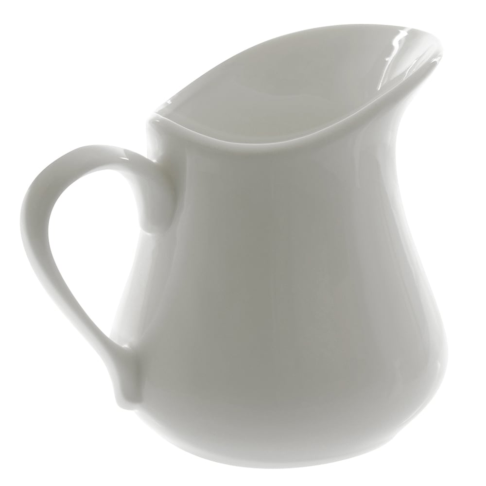 10 Strawberry Street WTR-45JUG 12 oz Milk Jug - Porcelain, White