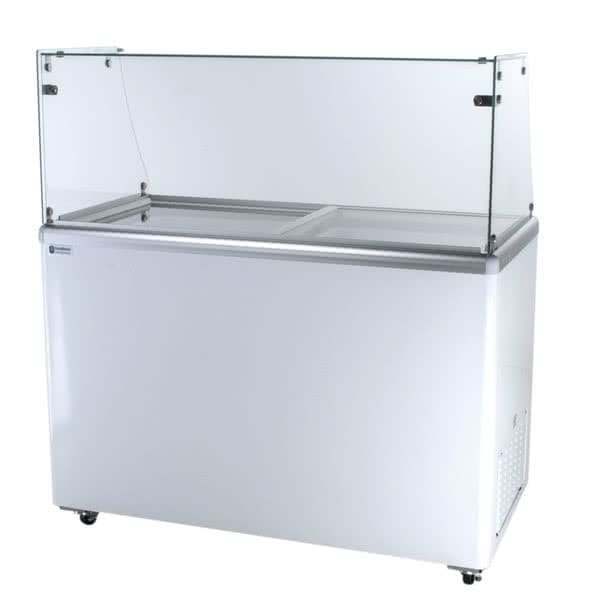 "Excellence Industries EDC-8HC 47.5"" Stand Alone Ice Cream Dipping Cabinet w/ 8-Tub Capacity - White, 115v"