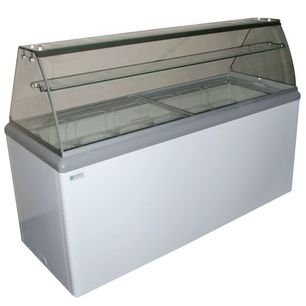 """Excellence Industries HBD-10HC 59.5"""" Stand Alone Ice Cream Dipping Cabinet w/ 18 Tub Capacity - White, 115v"""