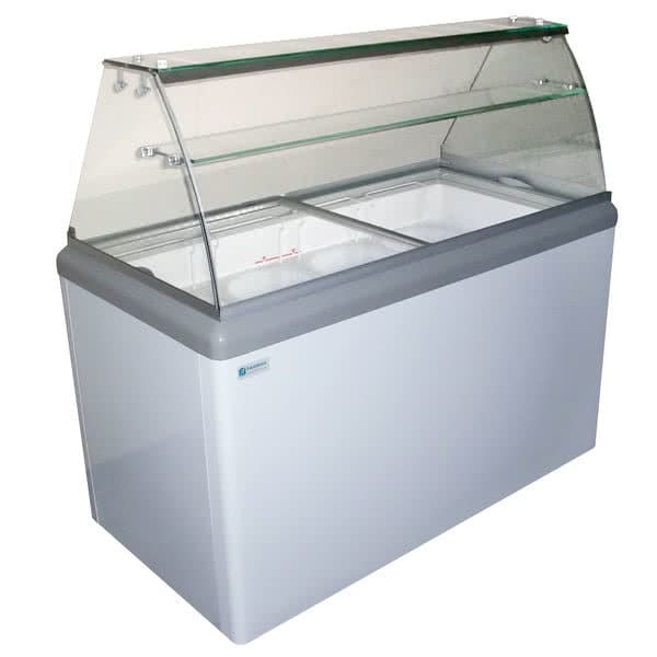"""Excellence Industries HBD-6HC 43.5"""" Stand Alone Ice Cream Dipping Cabinet w/ 10 Tub Capacity - White, 115v"""