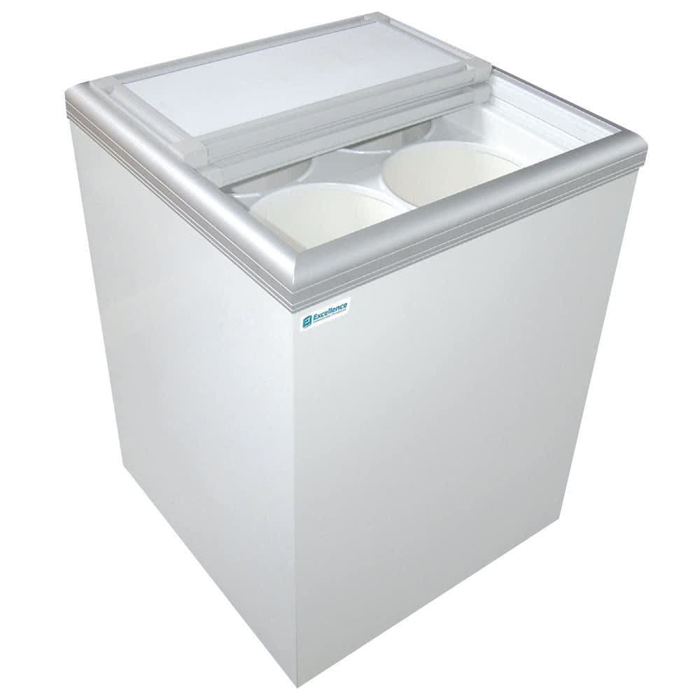 "Excellence Industries ISL-5D 24.5"" Stand Alone Ice Cream Freezer w/ 39 Tub Capacity - White, 115v"