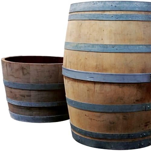 "PS Furniture KT-NAPA STACK HALF 20"" Half Wine Barrel, Reclaimed Wood"