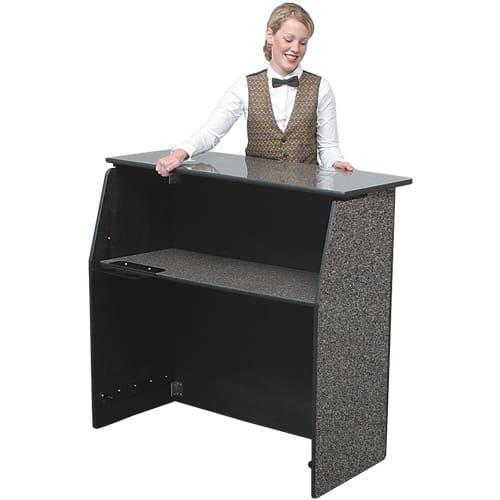Ps Furniture Kt Pfb4 43 5 Folding Portable Bar W Storage Shelf Blackstar Granite Laminate
