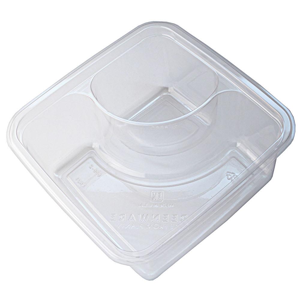 """Fabri-Kal GS6-2 2-Compartment Greenware® On-The-Go Box - 6"""" Square, Plastic, Clear"""