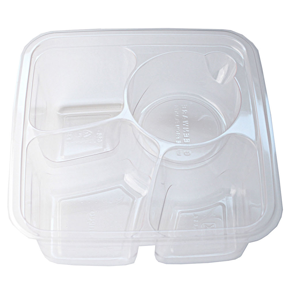 "Fabri-Kal GS6-3W 3 Compartment Greenware® On-The-Go Box - 6"" Square, Plastic, Clear"