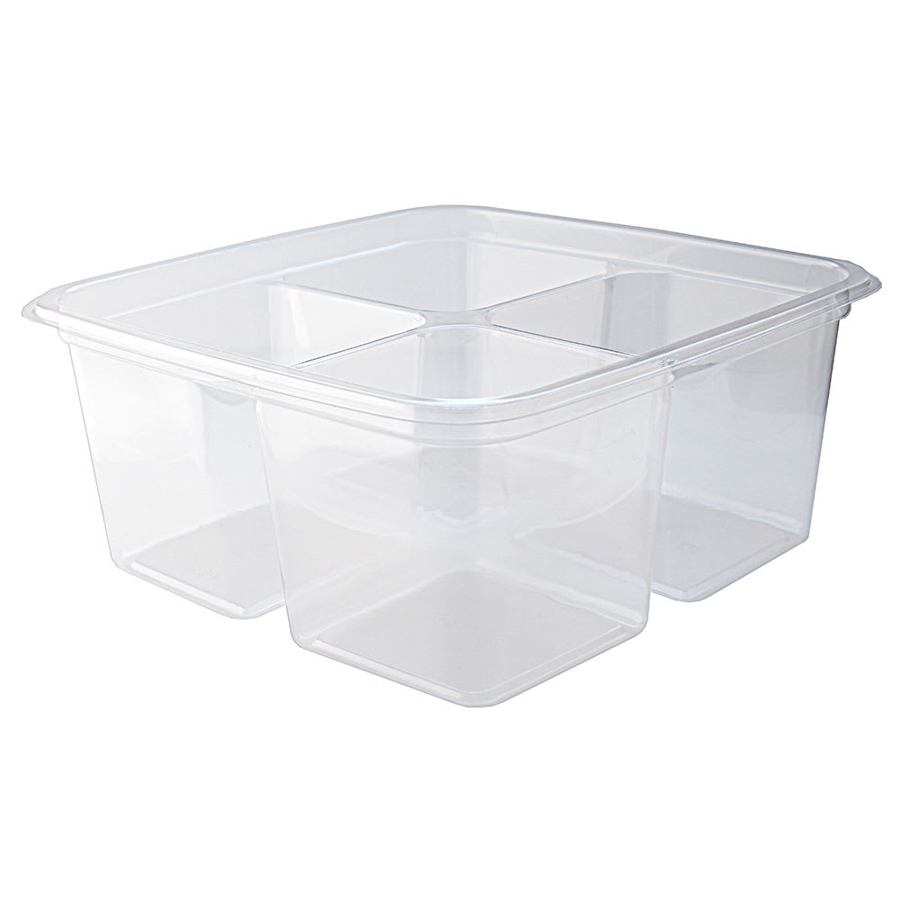 "Fabri-Kal GS6-4 4-Compartment Greenware® On-The-Go Box - 6"" Square, Plastic, Clear"