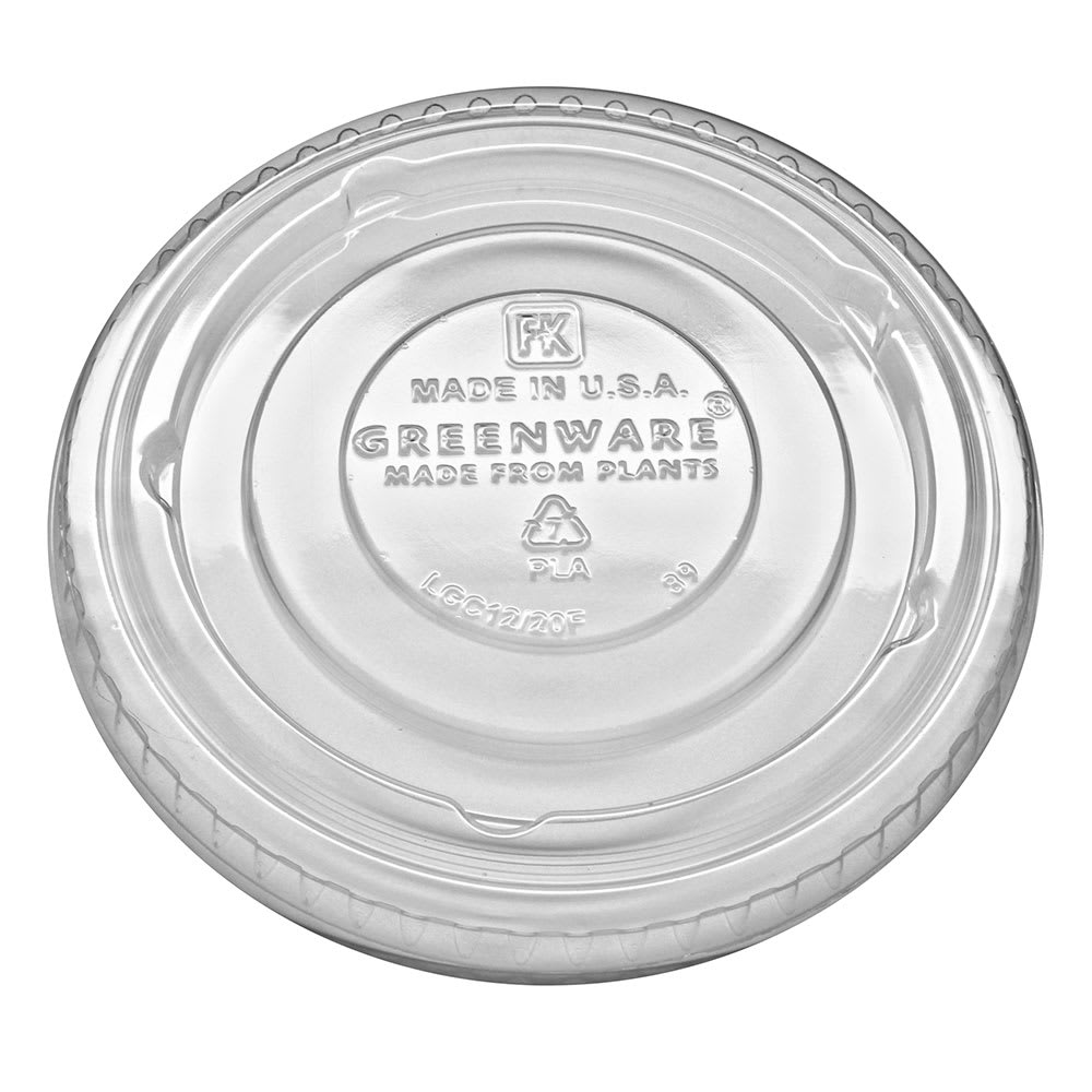 Fabri-Kal LGC12/20F Flat Lid for GC9OF, GC12S, & GC20 Greenware® Cups - No Straw Slot, Plastic, Clear
