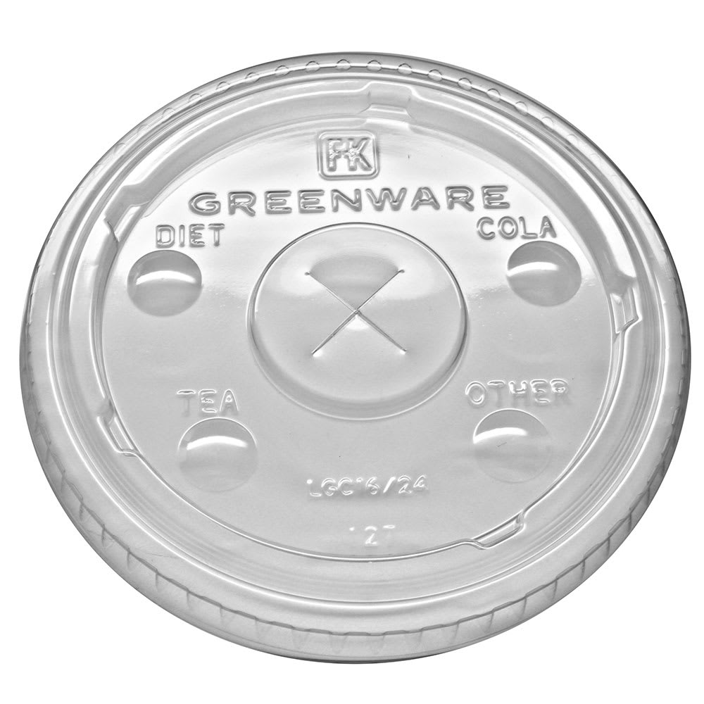 Fabri-Kal LGC16/24 Flat Lid w/ Straw Slot for GC16S & GC24 Greenware® Cups - Plastic, Clear