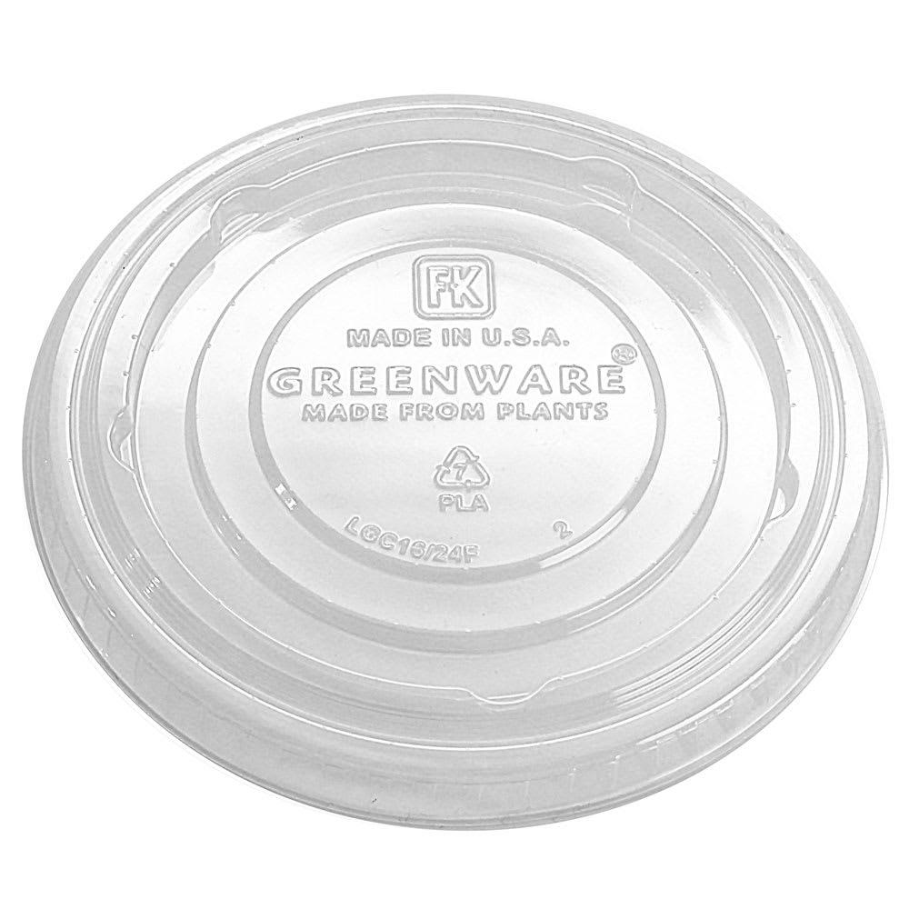 Fabri-Kal LGC16/24F Flat Lid for GC16S & GC24 Greenware® Cups - No Straw Slot, Plastic, Clear
