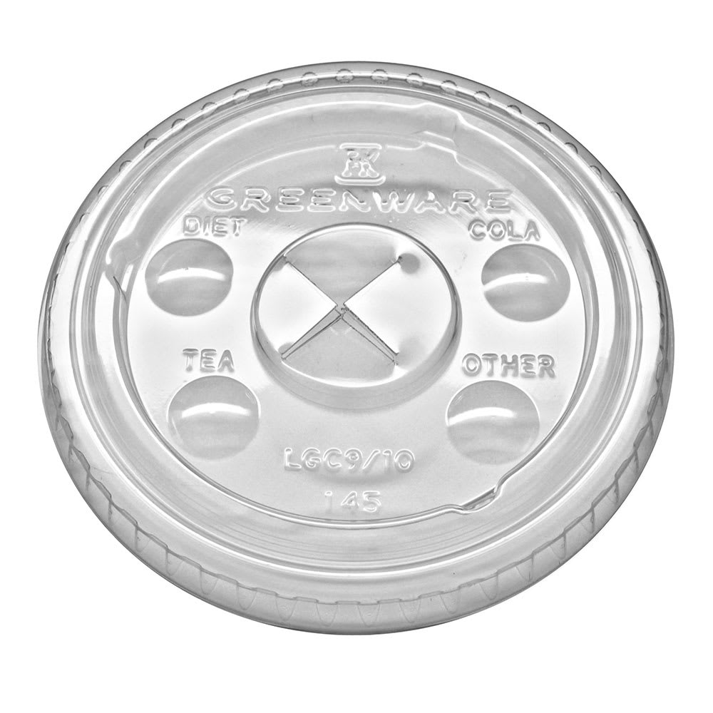 Fabri-Kal LGC9/10 Flat Lid w/ Straw Slot for GC10 Greenware® Cup - Plastic, Clear