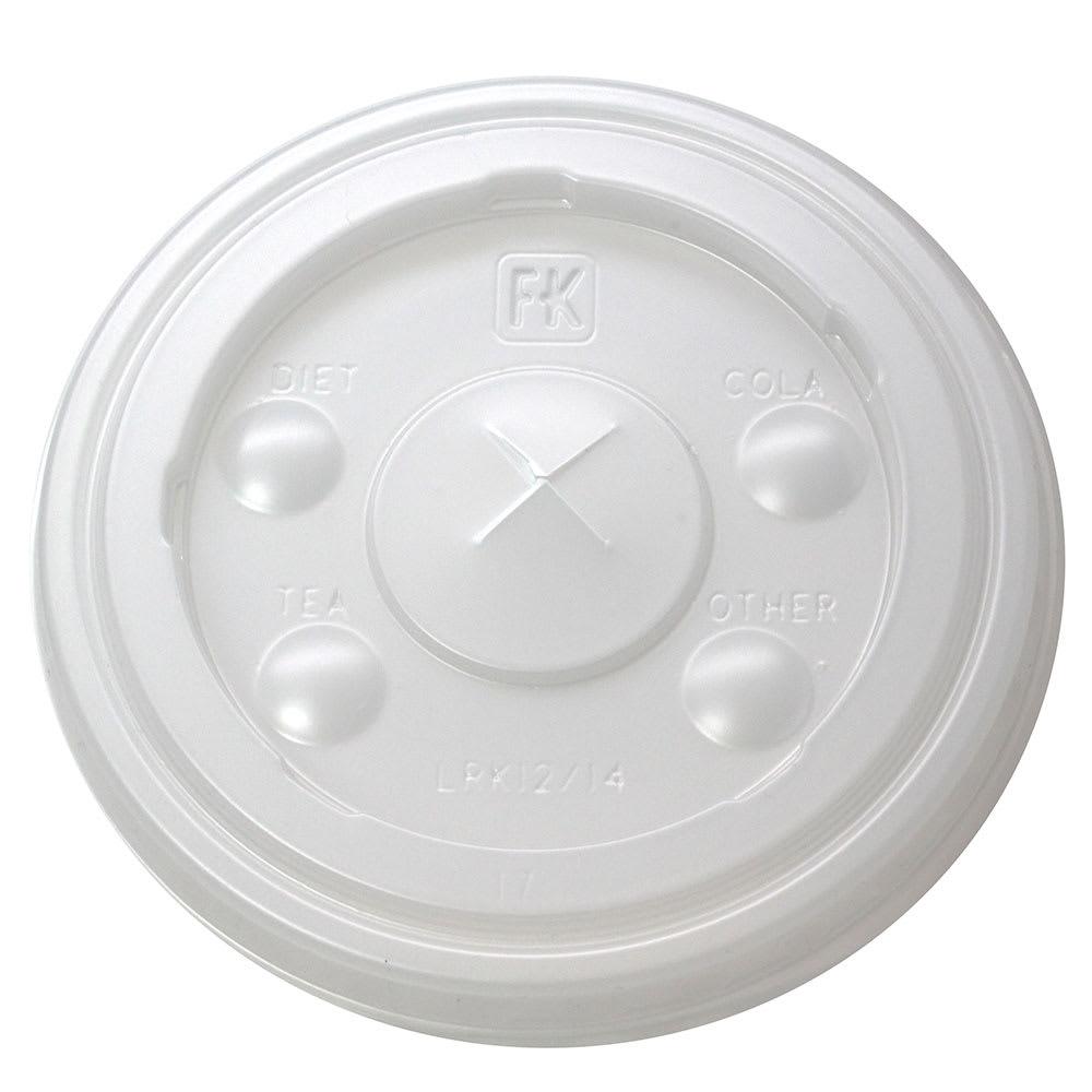 Fabri-Kal LRK12/14 Flat Lid w/ Straw Slot for RK12 & RK14 Drink Cups - Plastic, Clear