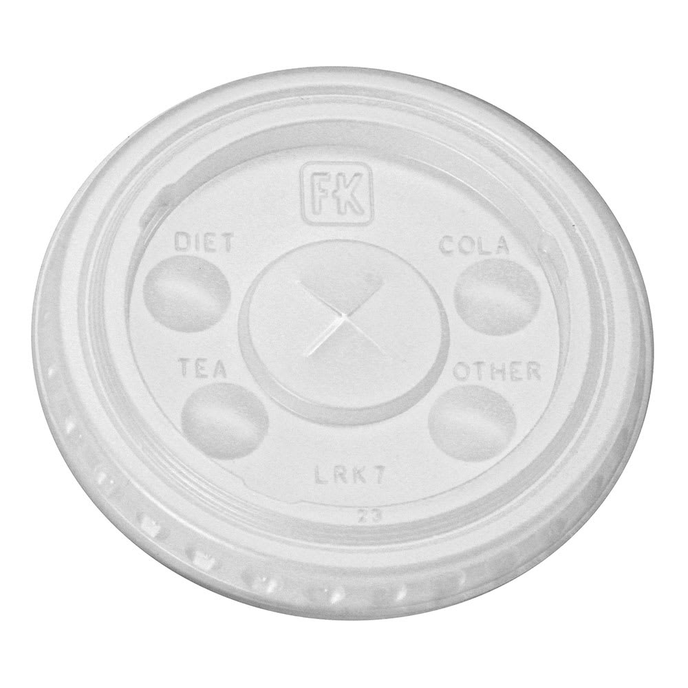 Fabri-Kal LRK7 Flat Lid w/ Straw Slot for RK7 Drink Cup - Plastic, Clear