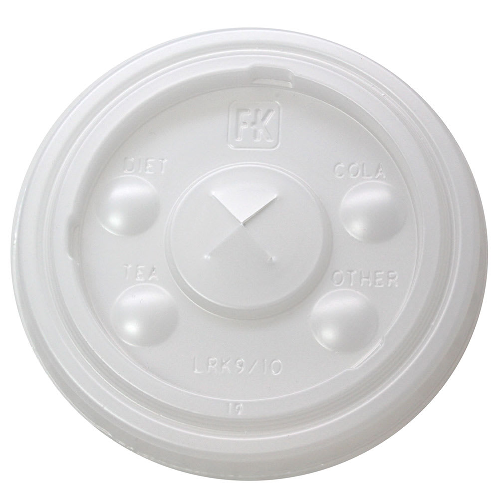 Fabri-Kal LRK9/10 Flat Lid w/ Straw Slot for RK9 & RK10 RK Drink Cups - Plastic, Clear