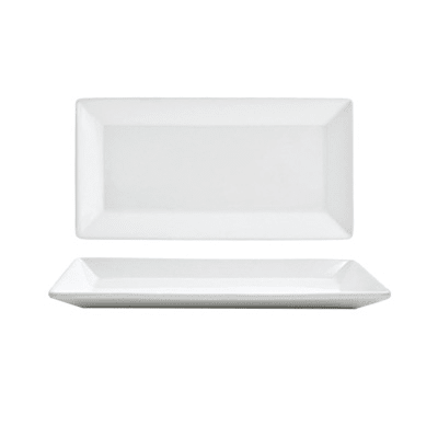 """Front of the House DAP001WHP23 Rectangular Kyoto™ Plate - 9"""" x 5"""", Porcelain, White"""