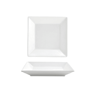 """Front of the House DAP002WHP23 5"""" Square Kyoto™ Plate - Porcelain, White"""