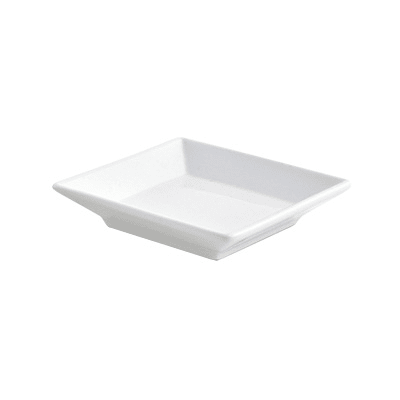 "Front of the House DAP039WHP23 3.5"" Square Kyoto™ Dish - Porcelain, White"