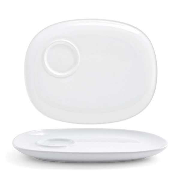 """Front of the House DAP058WHP21 Rectangular Harmony™ Plate w/ Well - 10.5"""" x 8.25"""", Porcelain, White"""