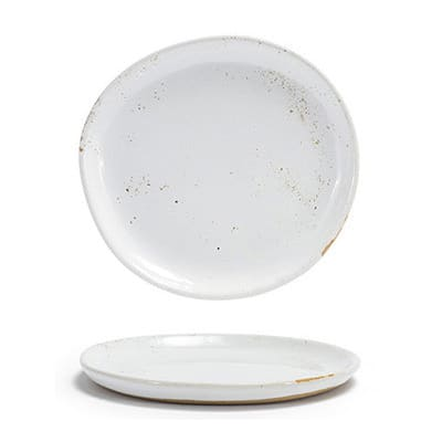 "Front of the House DAP082BEP23 6"" Round Artefact™ Plate - Porcelain, Ash"