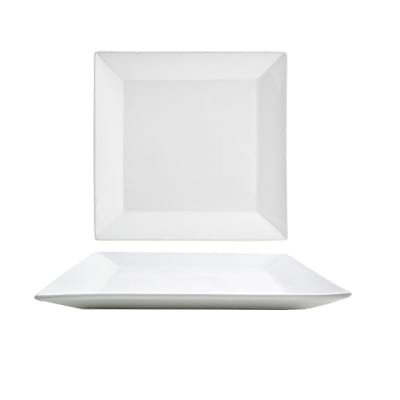 """Front of the House DDP005WHP23 10.75"""" Square Kyoto™ Plate - Porcelain, White"""