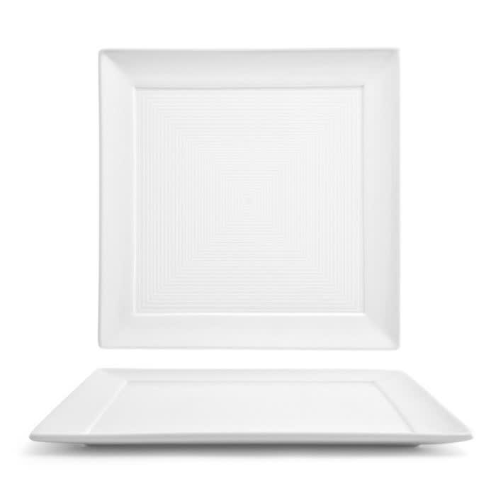 """Front of the House DDP021WHP22 10"""" Square Spiral® Plate - Porcelain, White"""