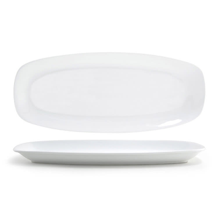 """Front of the House DDP040WHP22 Rectangular Mod® Plate - 15"""" x 6.5"""", Porcelain, White"""