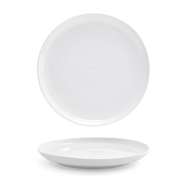 """Front of the House DDP045WHP22 9"""" Round Harmony™ Plate - Porcelain, White"""