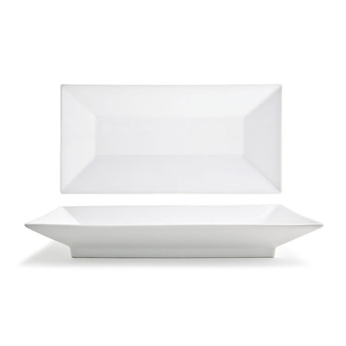 "Front of the House DOS003WHP21 Rectangular Kyoto™ Plate - 14"" x 7"", Porcelain, White"