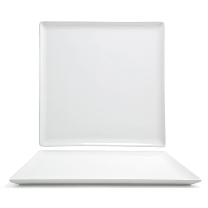 "Front of the House DOS005WHP21 12"" Square Mod® Plate - Porcelain, White"