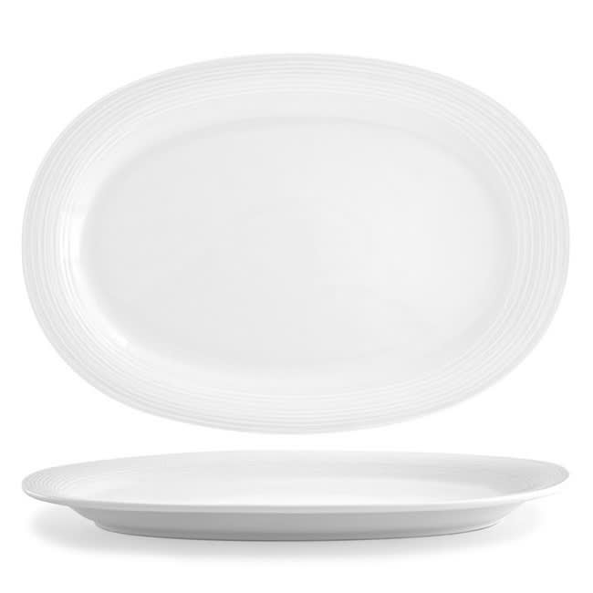 """Front of the House DOS012WHP12 Oval Spiral® Plate - 14"""" x 9.75"""", Porcelain, White"""