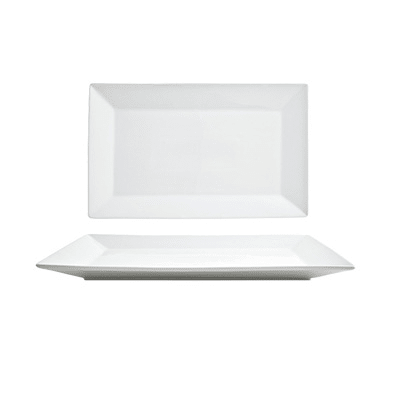 """Front of the House DOS015WHP22 Rectangular Kyoto™ Plate - 14"""" x 9"""", Porcelain, White"""