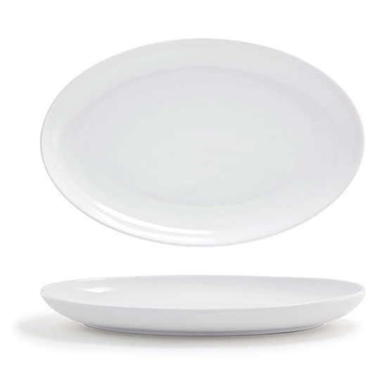 "Front of the House DOS025WHP21 Oval Harmony™ Plate - 11.5"" x 7.5"", Porcelain, White"