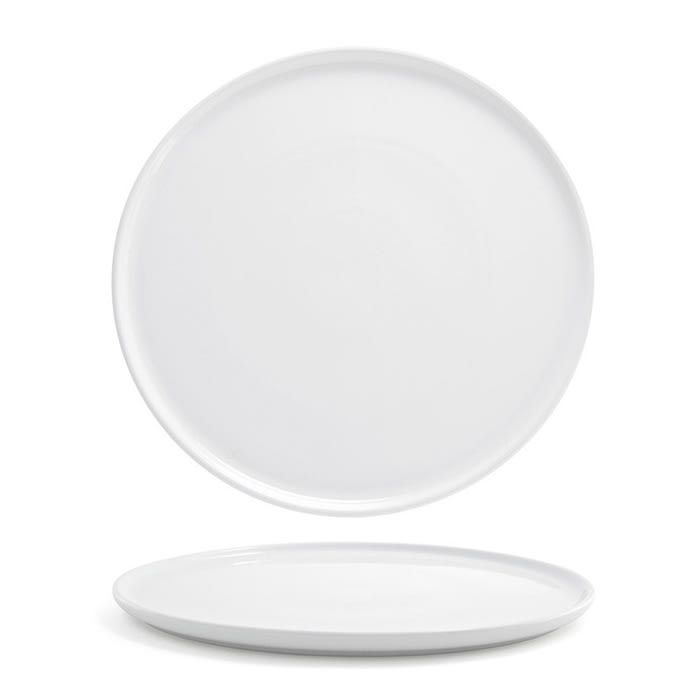 "Front of the House DOS026WHP21 13"" Round Harmony™ Plate - Porcelain, White"