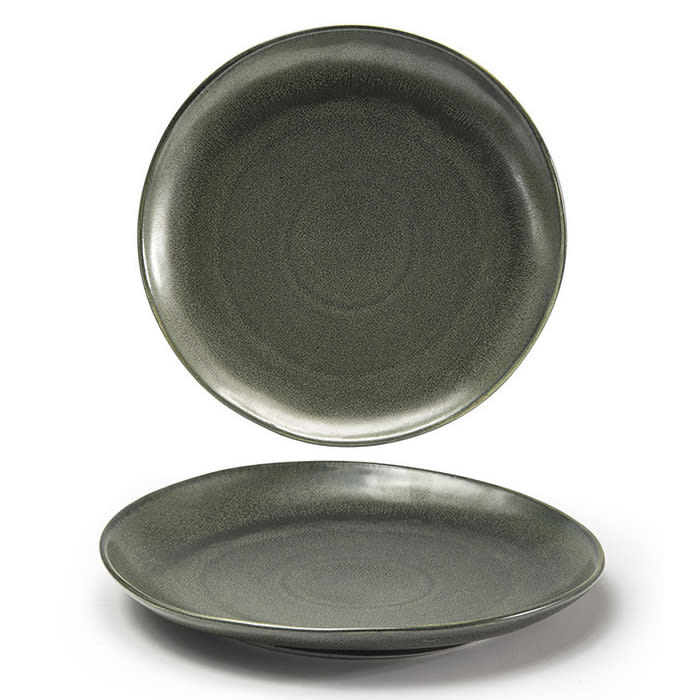 """Front of the House DOS029DGP22 11"""" Round Kiln® Plate - Porcelain, Sage"""