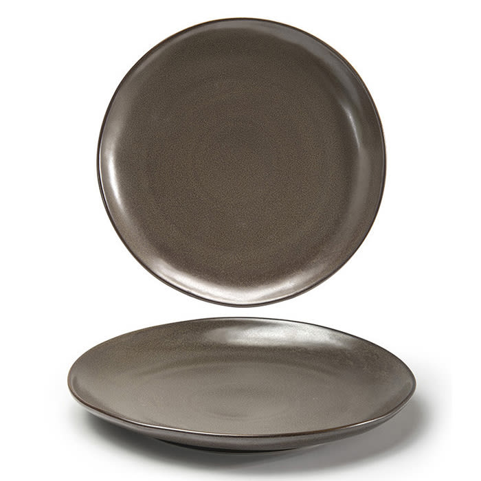 "Front of the House DOS029ESP22 11"" Round Kiln® Plate - Porcelain, Mocha"