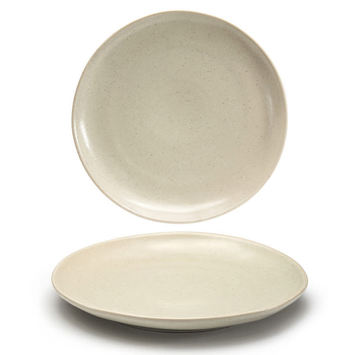 """Front of the House DOS029MUP22 11"""" Round Kiln® Plate - Porcelain, Mushroom"""