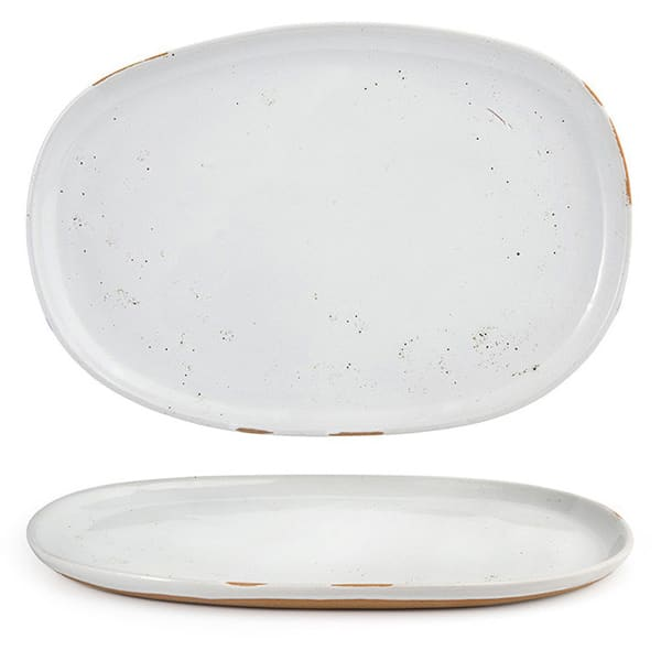 """Front of the House DOS033BEP21 Oval Artefact™ Plate - 13"""" x 9"""", Porcelain, Ash"""