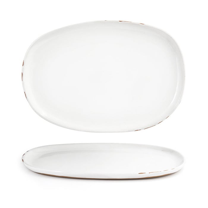 """Front of the House DOS033WHP21 Oval Artefact™ Plate - 13"""" x 9"""", Porcelain, Superwhite"""
