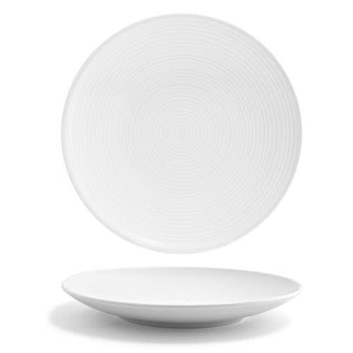 "Front of the House DSP008WHP23 8"" Round Spiral® Plate - Porcelain, White"