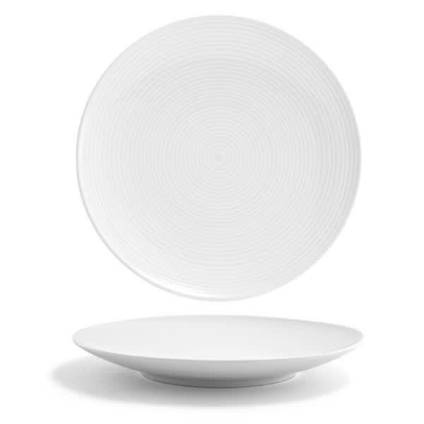 "Front of the House DSP022WHP22 9.5"" Round Spiral® Plate - Porcelain, White"