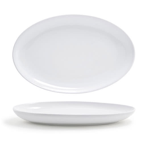 """Front of the House DSP024WHP22 Oval Harmony™ Plate - 9.25"""" x 6.25"""", Porcelain, White"""