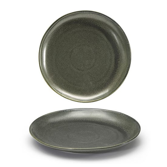 """Front of the House DSP031DGP23 8"""" Round Kiln® Plate - Porcelain, Sage"""