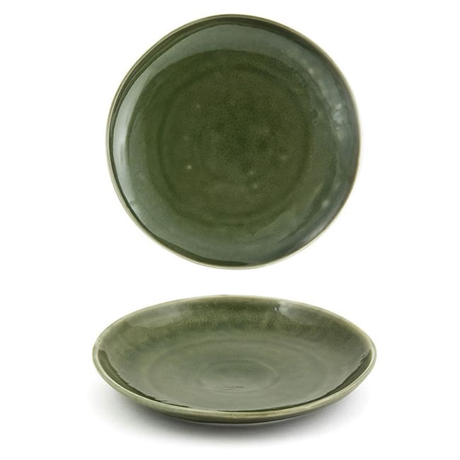 """Front of the House DSP031GRP23 8"""" Round Kiln® Plate - Porcelain, Leek"""