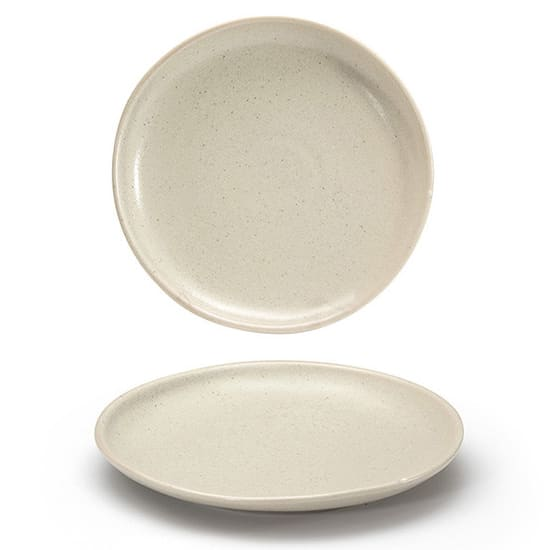 "Front of the House DSP031MUP23 8"" Round Kiln® Plate - Porcelain, Mushroom"