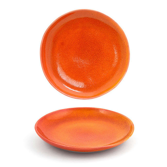 "Front of the House DSP031ORP23 8"" Round Kiln® Plate - Porcelain, Blood Orange"