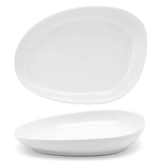 "Front of the House DSP032WHP23 Oval Kiln® Plate - 8"" x 6"", Porcelain, Superwhite"