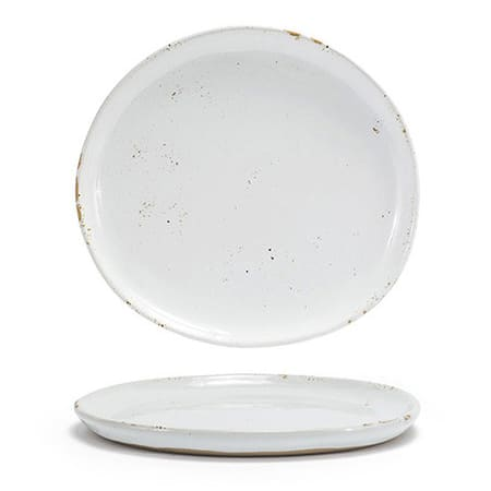"""Front of the House DSP036BEP23 7.5"""" Round Artefact™ Plate - Porcelain, Ash"""