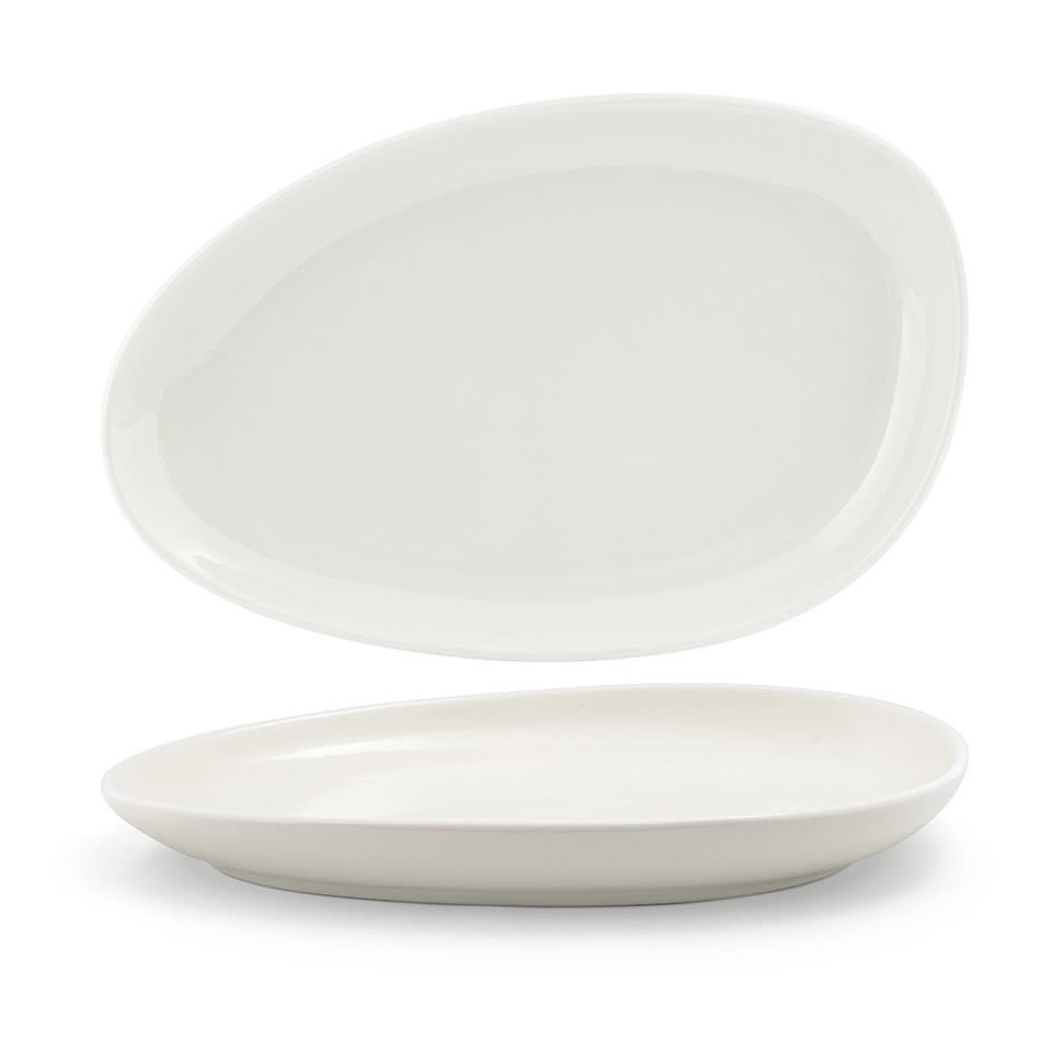 "Front of the House SPT056BEP20 Oval Kiln® Plate - 14"" x 9"", Porcelain, Vanilla Bean"