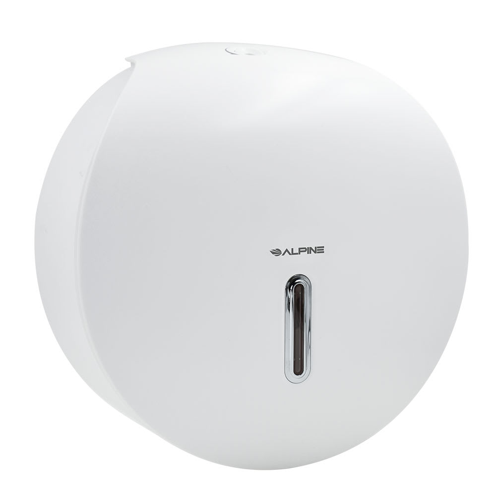 Alpine Industries 450-WHI Wall-Mount Toilet Paper Dispenser w/ Single-Roll Capacity - Plastic, White