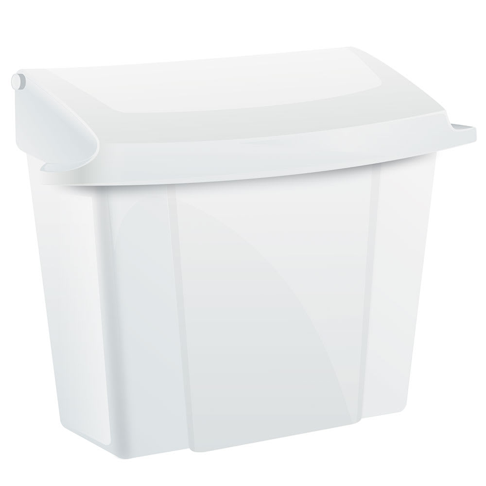 "Alpine Industries 451-WHI Wall-Mount Sanitary Napkin Receptacle - 9"" x 5"" x 10"", Plastic, White"
